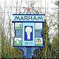 TF7009 : Marham village sign by Adrian S Pye