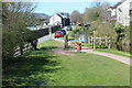 SO0527 : Tow path joins road on approach to bridge 165 by M J Roscoe