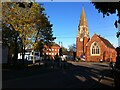 SP3583 : Longford Square, looking towards the parish church of St. Thomas by Alan Paxton