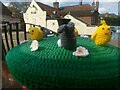 TM4462 : Pillarbox decorated for Easter by local yarnbombers, Leiston by Christopher Hilton