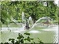 TQ1876 : Hercules Statue, The Pond, Kew Gardens by Martin Tester