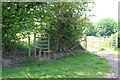 SO3309 : Stile and field gate by M J Roscoe