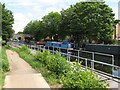 TQ0483 : Pontoons placed for towpath resurfacing by David Hawgood