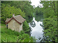 SO8101 : Boat house on Middle Pond, Woodchester Park by Chris Allen