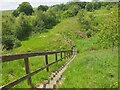 NT6217 : Footpath steps at Merlin Dean by Jim Barton