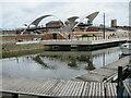 TA0928 : Humber Dock and footbridge over Castle Street, Hull by Malc McDonald