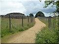 SO8853 : Bridleway between Heras fencing, Worcester by Chris Allen