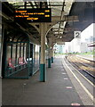 ST1876 : Departures board on Platform 2, Cardiff Queen Street station by Jaggery