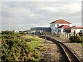 TR0817 : Looking back towards Dungeness railway station from a departing train by Nigel Thompson