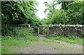 NO5705 : Gate to woodland walk by Bill Kasman