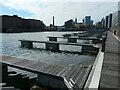 SJ3489 : Pontoons, Salthouse Dock by Christine Johnstone