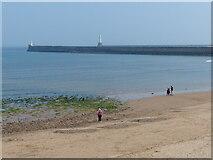 NJ9505 : North Pier and beach by Mat Fascione