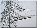TQ0587 : Work cradle for power line restringing by David Hawgood