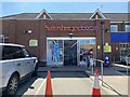 SP2865 : Entrance, Sainsbury's Local, Coten End, Warwick, during the pandemic by Robin Stott