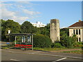 SZ0291 : Clock tower and bus shelter, Poole by Malc McDonald