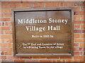 SP5323 : Inscription Board at Middleton Stoney Village Hall by David Hillas