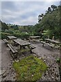 SO4200 : Four picnic tables in Llangwm, Monmouthshire by Jaggery