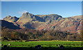 NY3303 : The Langdale Pikes from Skelwith Force by Andy Stephenson