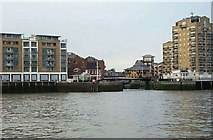 TQ3680 : Swing bridge and entrance to Limehouse Basin by Stephen Dawson