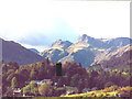 NY3304 : Langdale Pikes from Elterwater Common by Chris Coleman