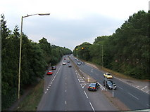 TQ1665 : A309 from footbridge near Hinchley Wood by Roger Miller