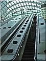 TQ3780 : Canary Wharf Station Escalator from Jubilee Line by Christine Matthews