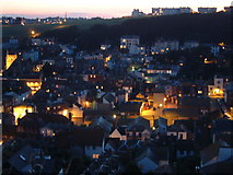 TQ8209 : Hastings from East Cliff at Dusk by Peter