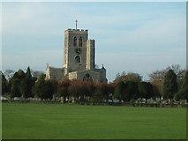 SP7006 : Church of St. Mary the Virgin, Thame across fields by Rob Farrow