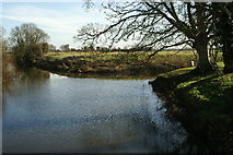 ST3645 : River Brue where it is joined by the Cripps River by Adrian and Janet Quantock