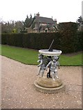 TQ1352 : Sundial in the walled garden, Polesden Lacey, Great Bookham by Humphrey Bolton