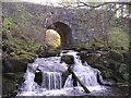 NS7881 : Bridge and Waterfall on Castlerankine Burn by Chris Upson