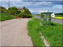 NO8578 : Layby and bus stop at Roadside of Catterline by Oliver Dixon