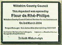 ST9060 : Plaque commemorating the opening of the Semington Aqueduct on the Kennet & Avon Canal by Alan Cooper
