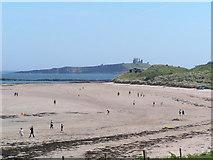 NU2424 : Newton Haven beach, Dunstanburgh Castle behind by N Chadwick
