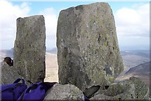 SH6659 : Adam and Eve stones on Tryfan summit by Terry Hughes