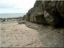NS2109 : Rock strata, Barwhin Point by Gordon Brown