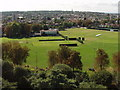TQ1875 : Old Deer Park sports grounds, view south from Kew Gardens pagoda by David Hawgood