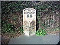 TM3974 : Milepost - A144 The Hill,  Bramfield by Geographer