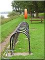 NS9194 : Bike stand, Gartmorn Dam by Richard Webb