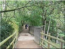 SE2741 : Bridge over the sluice, Golden Acre Park Lake by Rich Tea