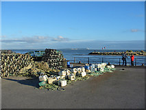 SZ1891 : Lobster pots and floats Mudeford Quay Christchurch Dorset by Clive Perrin