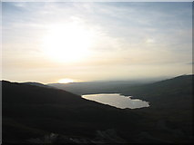 SH5644 : Llyn Cwmystrallyn and Tremadog Bay from the top of Gorseddau Quarry by Eric Jones