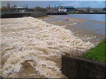 SX9291 : Trews Weir in flood by Derek Harper
