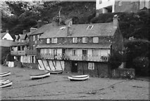 SS3124 : Cottages Clovelly Harbour 1963 by Clive Perrin