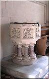 TQ9258 : St Catherine, Kingsdown, Kent - Font by John Salmon