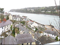 SH5571 : The Beach Road area of Porthaethwy/Menai Bridge viewed from Pont y Borth by Eric Jones