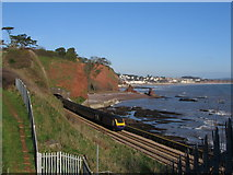 SX9675 : Train exiting a tunnel at Shell Cove, Dawlish by Brian