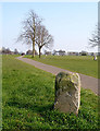 ST5674 : Boundary stone and footpath crossing The Downs by Linda Bailey