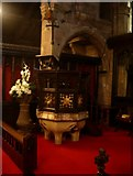 SJ8588 : The Font of St Mary's The parish Church of Cheadle. by Alexander P Kapp