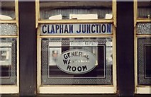 TQ2775 : Old window in waiting room, Clapham Junction Station by Ruth Sharville